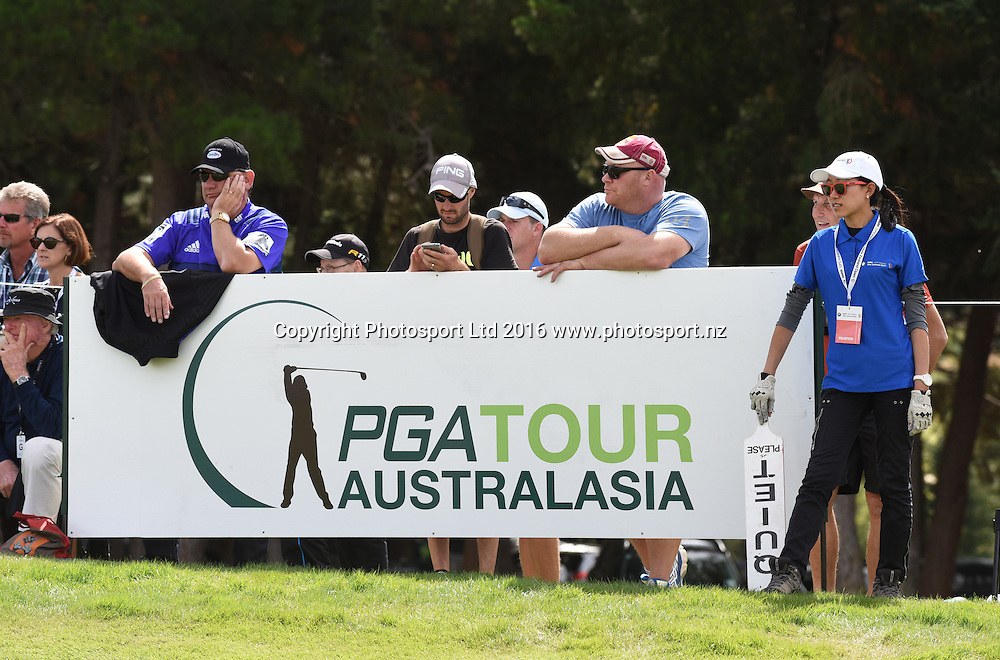 PGA tour branding during Round 3 at The Hills during 2016 BMW ISPS Handa New Zealand Open. Saturday 12 March 2016. Arrowtown, New Zealand. Copyright photo: Andrew Cornaga / www.photosport.nz