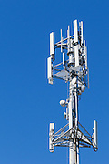 3 sector cellular telecom communications panel antenna array for the mobile telephone system on a cellsite pole tower .