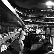 Jake Lamb, Arizona Diamondbacks, in the dugout preparing to bat during the New York Mets Vs Arizona Diamondbacks MLB regular season baseball game at Citi Field, Queens, New York. USA. 10Th July 2015. Photo Tim Clayton