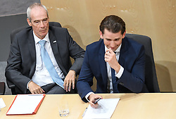 "27.05.2019, Hofburg, Wien, AUT, Sondersitzung des Nationalrates, Sitzung des Nationalrates aufgrund des Misstrauensantrags der Liste JETZT, FPOE und SPOE gegen Bundeskanzler Sebastian Kurz (OeVP) und die Bundesregierung, im Bild v.l. August Wöginger (ÖVP), Innenminister Eckart Ratz, Sebastian Kurz (ÖVP) // during special meeting of the National Council of austria due to the topic ""motion of censure against the federal chancellor Sebastian Kurz (OeVP) and the federal government"" at the Hofburg in Wien, Australia on 2019/05/27. EXPA Pictures © 2019, PhotoCredit: EXPA/ Lukas Huter"