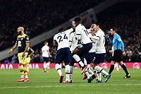 Football - 2019 / 2020 Emirates FA Cup - Fourth Round, Replay: Tottenham Hotspur vs. Southampton<br /> <br /> Tottenham Hotspur's Tanguy Ndombele (hidden) celebrates scoring the opening goal, at The Tottenham Hotspur Stadium.<br /> <br /> COLORSPORT/ASHLEY WESTERN