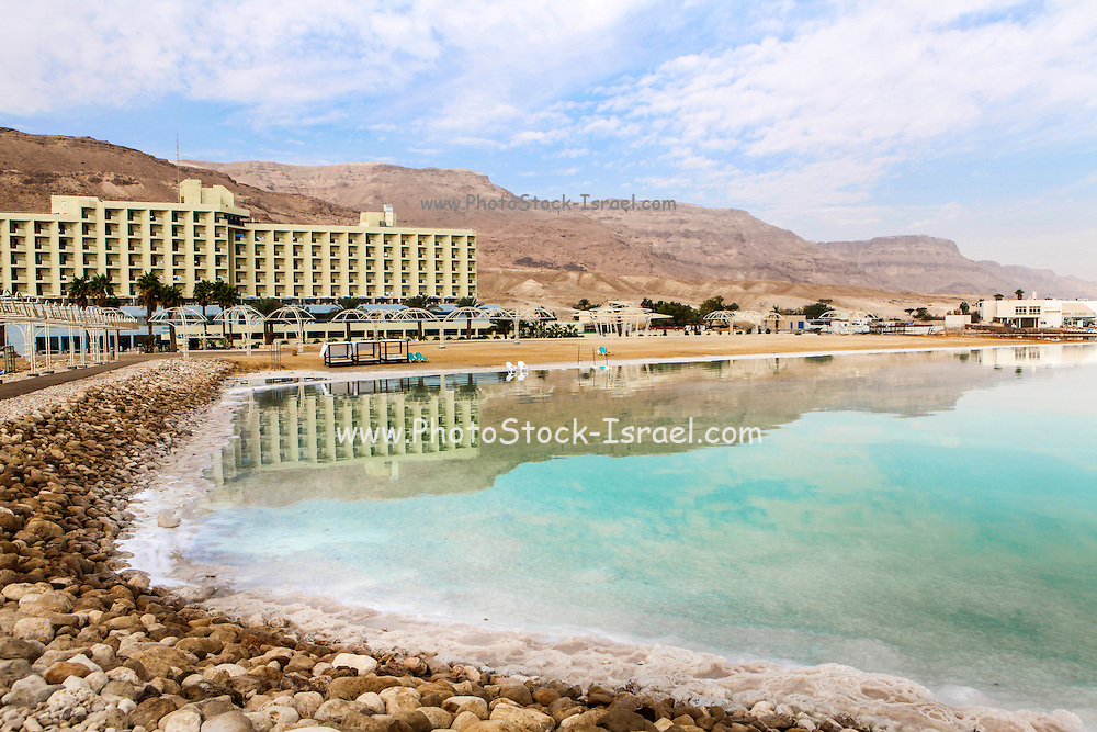 A tourist beach on the shore of the Dead Sea, Israel