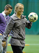 CAROLINE WOZNIACKI ( DANEMARK ) DURING SOCCER TRAINING NATIONAL TEAM OF POLISH JOURNALIST AT BEMOWO FOOTBALL HALL IN WARSAW. WHILE TENNIS GAMES ARE POSTOPONED BY STRONG RAIN DURING FIRST DAY INTERNATIONAL WOMEN TENNIS TOURNAMENT WTA POLSAT WARSAW OPEN AT LEGIA'S COURTS IN WARSAW, POLAND...WARSAW , POLAND , MAY 17, 2010..( PHOTO BY ADAM NURKIEWICZ / MEDIASPORT )..PICTURE ALSO AVAIBLE IN RAW OR TIFF FORMAT ON SPECIAL REQUEST.