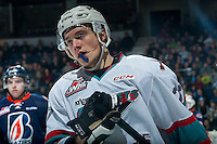 KELOWNA, CANADA - MARCH 5: Calvin Thurkauf #27 of Kelowna Rockets skates against the Kamloops Blazers on March 5, 2016 at Prospera Place in Kelowna, British Columbia, Canada.  (Photo by Marissa Baecker/Shoot the Breeze)  *** Local Caption *** Calvin Thurkauf;