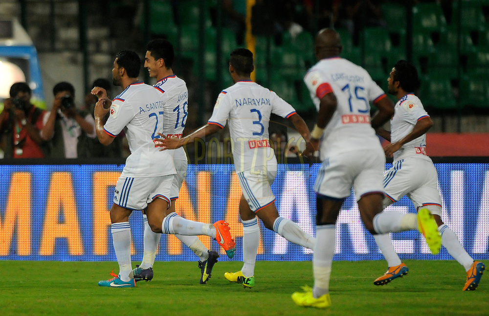 Andre Santos of FC Goa celebrates a goal with teammates during match 50 of the Hero Indian Super League between Chennaiyin FC and FC Goa held at the Jawaharlal Nehru Stadium, Chennai, India on the 5th December 2014.<br /> <br /> Photo by:  Pal Pillai/ ISL/ SPORTZPICS
