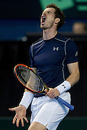 Andy Murray of Great Britain expresses his frustration during the Davis Cup match by BNP Paribas between Great Britain and Japan at the National Indoor Arena, Birmingham.<br /> Picture by Russell Hart/Focus Images Ltd 07791 688 420<br /> 06/03/2016