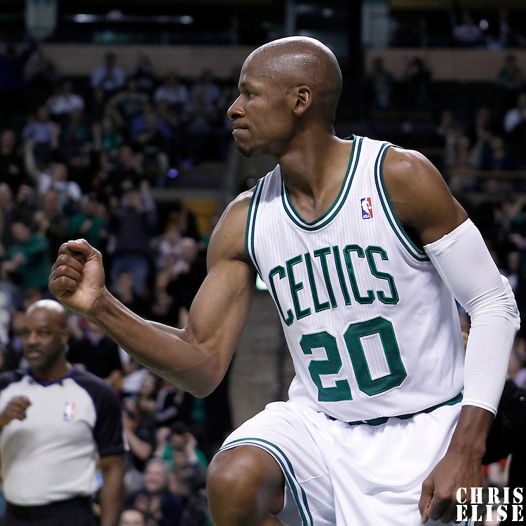06 March 2012: Boston Celtics shooting guard Ray Allen (20) celebrates during the Boston Celtics 97-92 (OT) victory over the Houston Rockets at the TD Garden, Boston, Massachusetts, USA.