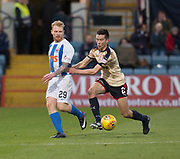 18th November 2017, Dens Park, Dundee, Scotland; Scottish Premier League football, Dundee versus Kilmarnock; Kilmarnock's Chris Burke and Kilmarnock's Chris Burke