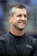 Baltimore Ravens head coach John Harbaugh has a laugh as he chats on the sideline before the NFL week 11 regular season football game against the Cincinnati Bengals on Sunday, Nov. 18, 2018 in Baltimore. The Ravens won the game 24-21. (©Paul Anthony Spinelli)