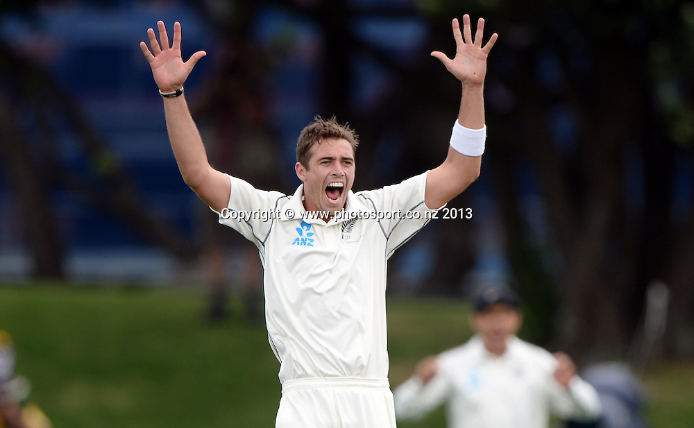 Tim Southee appeals unsuccessfully on Day 3 of the 2nd cricket test match of the ANZ Test Series. New Zealand Black Caps v West Indies at The Basin Reserve in Wellington. Friday 13 December 2013. Mandatory Photo Credit: Andrew Cornaga www.Photosport.co.nz