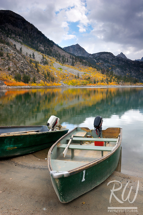 Lake Sabrina Fishing Boats, Eastern Sierra, California