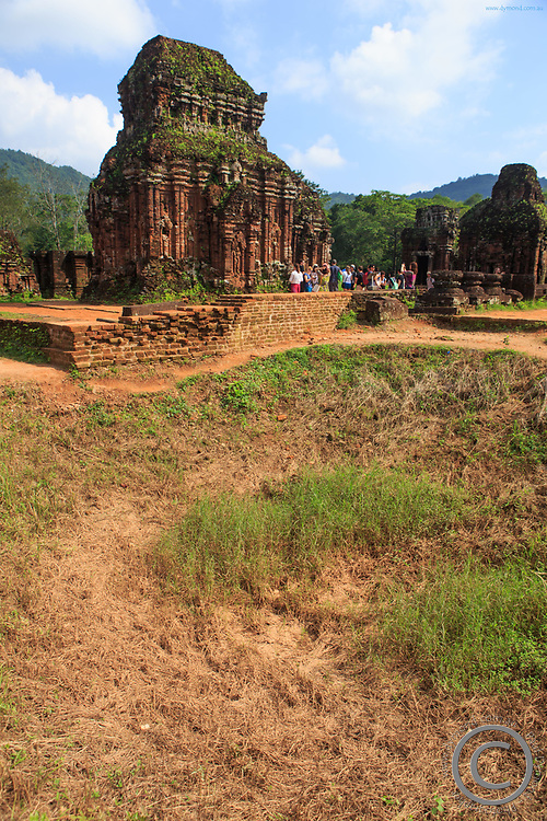 A large hole marks where a US bomb was dropped during the Vietnam War at My Son Sanctuary, Qang Nam Province, Vietnam