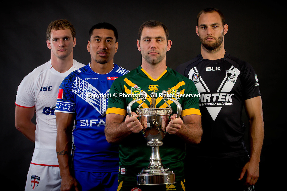Four Nations captain's l-r James Graham, David Fa'alogo,  Cameron Smith and Simon Mannering during a preview 4 Nations portrait session, in Brisbane Australia on October 24, 2014.