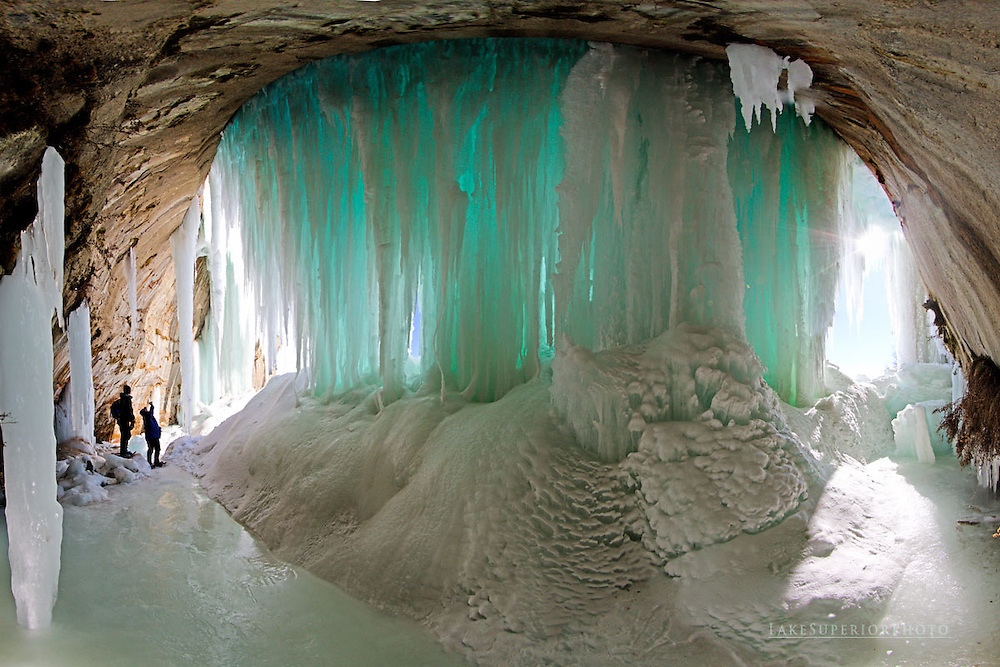 Grand Island blue ice curtain wall, people