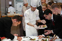 Philippe MILLE, - France, with meat before judging - bocuse d'or..Owen Franken for the NY Times..January 28, 2009.
