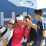 Shuai Peng, China, feeling ill during the second set, could not continue and had to retire during her match with Caroline Wozniacki, Denmark, in the Women's Singles Semifinal during the US Open Tennis Tournament, Flushing, New York, USA. 5th September 2014. Photo Tim Clayton