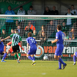 TELFORD COPYRIGHT MIKE SHERIDAN GOAL. Callum Roberts of Blyth scores to make it 2-0 during the National League North fixture between Blyth Spartans and AFC Telford United at Croft Park on Saturday, September 28, 2019<br /> <br /> Picture credit: Mike Sheridan<br /> <br /> MS201920-023