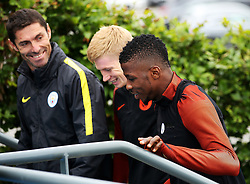 Kevin De Bruyne and Kelechi Iheanacho of Manchester City walk out to train with goalkeeping coach Xabier Mancisidor   - Mandatory by-line: Matt McNulty/JMP - 12/09/2016 - FOOTBALL - Manchester City - Training session ahead of Champions League Group C match against Borussia Monchengladbach