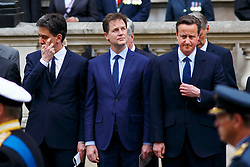 © Licensed to London News Pictures. 08/05/2015. LONDON, UK. Ed Miliband, Nick Clegg and Prime Minister David Cameron attending a service of remembrance at the Cenotaph in London marking the 70th anniversary of VE Day on Friday, 8 May 2015. Photo credit : Tolga Akmen/LNP