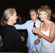 Lauren Bacall, Harry Evans and Tina Brown. Talk magazine launch. New York. 2 September 1999.<br />