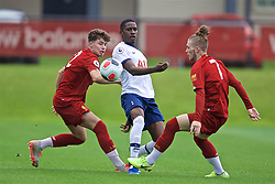 KIRKBY, ENGLAND - Saturday, August 10, 2019: Tottenham Hotspur's Shilow Tracey (C) is challenged by Liverpool's Neco Williams (L) and Harvey Elliot (R) during the Under-23 FA Premier League 2 Division 1 match between Liverpool FC and Tottenham Hotspur FC at the Academy. (Pic by David Rawcliffe/Propaganda)