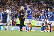 Ipswich Town manager Paul Lambert and midfielder Cole Skuse congratulate their win during the EFL Sky Bet League 1 match between Burton Albion and Ipswich Town at the Pirelli Stadium, Burton upon Trent, England on 3 August 2019.