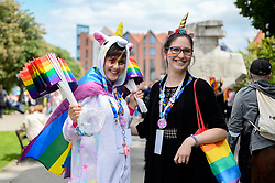 May 25, 2019 - Gdansk, Pomerania, Poland - Women seen with LGBT signs and flags during the march..Several thousands of people took part in the annual 5th Tricity Equality March manifesting LGBT rights, it was organized by the, ''Tolerado'', and under the slogan ''Love can only connect''. Different Counter protesters were seen during the event. (Credit Image: © Mateusz Slodkowski/SOPA Images via ZUMA Wire)