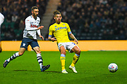 Kalvin Phillips of Leeds United (23) passes the ball during the EFL Sky Bet Championship match between Preston North End and Leeds United at Deepdale, Preston, England on 9 April 2019.