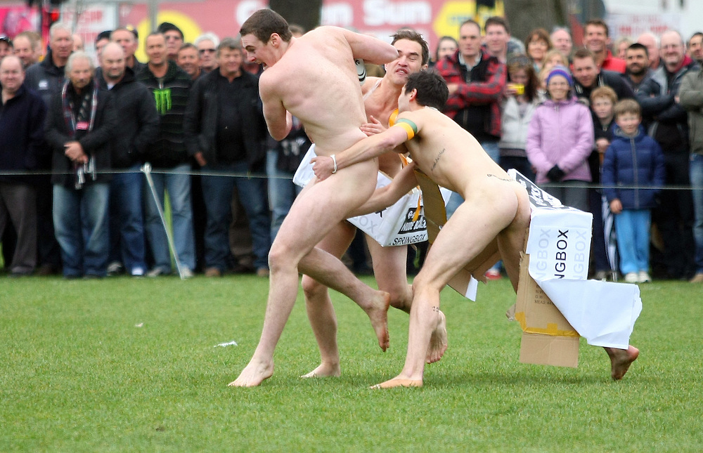 The Nude Blacks against the Springbox in the naked rugby match at Northern Park , Dunedin, New Zealand, Saturday, September 15, 2012. Credit:SNPA / Dianne Manson