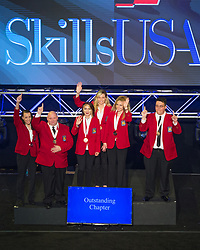 The 2017 SkillsUSA National Leadership and Skills Conference Competition Medalists were announced Friday, June 23, 2017 at Freedom Hall in Louisville. <br /> <br /> Outstanding Chapter<br /> <br /> Team E (consisting of Caitlyn Jenkins, Gwendolyn Orender, Alicia Watters)<br />   High School Buckeye Hills Career Center<br />   Gold Rio Grande, OH<br /> Outstanding ChapterTeam G (consisting of Karla Lopez, AnaKarina Gutierrez, Yamileth Jarquin)<br />   High School Cross Keys High School<br />   Silver Atlanta, GA<br /> Outstanding ChapterTeam D (consisting of Annastasia Root, Ryan Kordis, Sheyenne Sanders)<br />   High School Tulsa Technology Center-Peoria<br />   Bronze Tulsa, OK<br /> Outstanding ChapterTeam B (consisting of Chad Ledford, Jacob Carr, Brittany Ramseur)<br />   College Catawba Valley Community College<br />   Gold Hickory, NC<br /> Outstanding ChapterTeam A (consisting of Mariah Vied, Ruben Brun, Maxine Blackwell)<br />   College Orange Technical College - Orlando Campus<br />   Bronze Orlando, FL