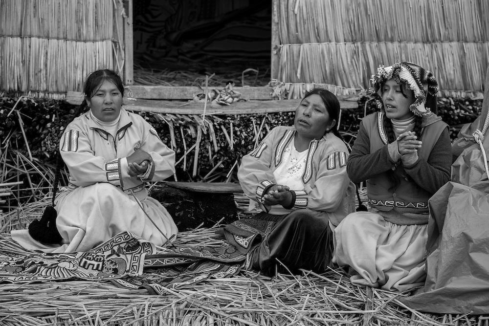 South America,Peru, Puno, Urus Islands, Lake Titicaca, Uros floatin villages