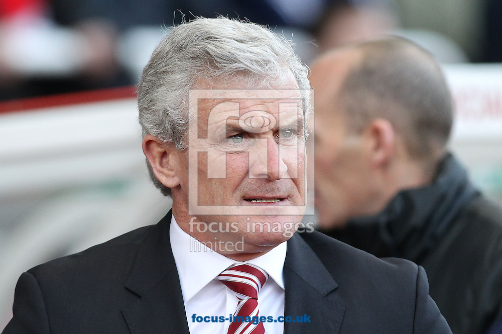 Picture by Michael Sedgwick/Focus Images Ltd +44 7900 363072<br /> 21/12/2013<br /> Mark Hughes, manager of Stoke City on the touchline prior to the Barclays Premier League match against Aston Villa at the Britannia Stadium, Stoke-on-Trent.