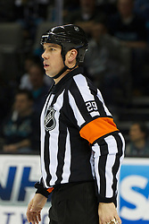 Dec 23, 2011; San Jose, CA, USA; NHL referee Ian Walsh (29) before a face off between the San Jose Sharks and the Los Angeles Kings during the second period at HP Pavilion. San Jose defeated Los Angeles 2-1 in shootouts. Mandatory Credit: Jason O. Watson-US PRESSWIRE
