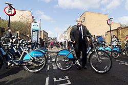 © Licensed to London News Pictures. 08/03/2012. London, UK. Mayor of London Boris Johnson pictured on Hewison Street in Bow today (08/03) to publicise the eastern extension of the Barclays Bike cycle hire scheme which launches today. Photo credit : James Gourley/LNP