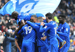 Kenneth Zohore of Cardiff City celebrates his goal making it 1-0 - Mandatory by-line: Nizaam Jones/JMP- 30/03/2018 -  FOOTBALL -  Cardiff City Stadium- Cardiff, Wales -  Cardiff City v Burton Albion - Sky Bet Championship