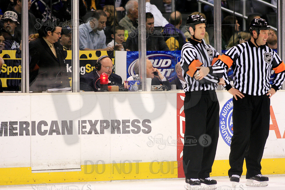 7 April 2007:  David Courtney in the time keepers box during the NHL Los Angeles Kings 3-2 win over the Phoenix Coyotes during the last home game of the season at the Staples Center in CA.