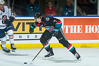 KELOWNA, CANADA - SEPTEMBER 22: Libor Zabransky #7 of the Kelowna Rockets skates with the puck against the Kamloops Blazers  on September 22, 2018 at Prospera Place in Kelowna, British Columbia, Canada.  (Photo by Marissa Baecker/Shoot the Breeze)  *** Local Caption ***