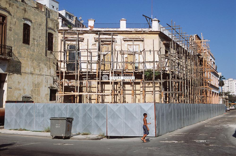 Wooden scaffolding on building in Havana,