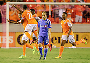 Oct 4, 2013; Houston, TX, USA; Houston Dynamo midfielder Ricardo Clark (13) celebrates scoring a goal against the Montreal Impact during the first half at BBVA Compass Stadium. Mandatory Credit: Thomas Campbell-USA TODAY Sports