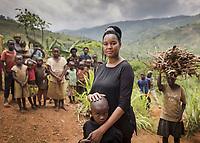 Dr Ciku Mathenge working in a rural village in Rwanda.
