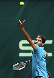 June 21, 2018 - Halle, Allemagne - Swiss player Roger Federer (SUI) pictured during his match against French player Benoit Paire in Halle at Gerry Weber open 2018 (Credit Image: © Panoramic via ZUMA Press)