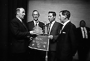 Greyhound of the Year (1967) Award. Neill Blaney T.D., Minister for Agriculture and Fisheries, presenting the Bord na gCon Waterford Cut Glass Trophy to Michael Loughnane of Roscrea, owner of 'Yanka Boy', which won the Bord na gCon award..18.06.1968
