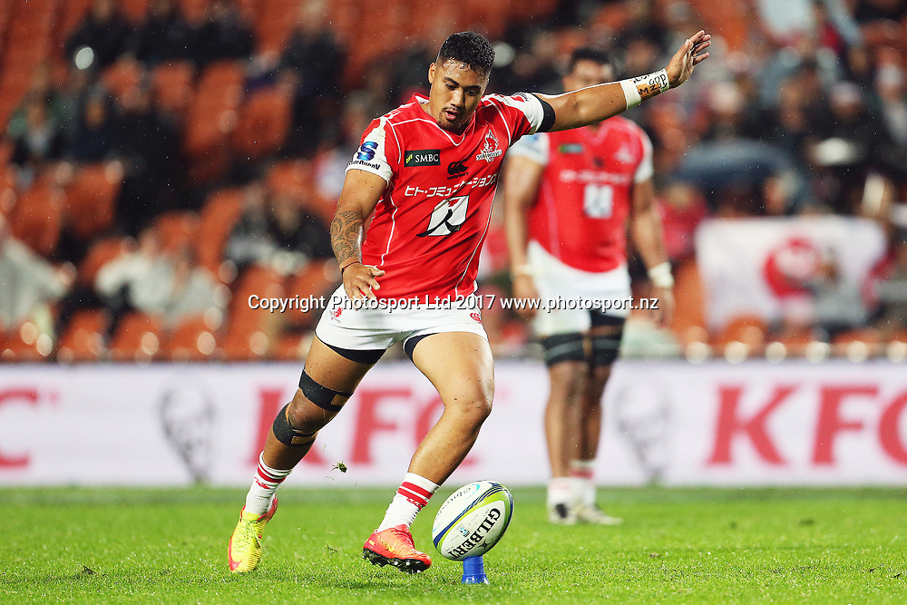 Sunwolves reserve Jamie-Jerry Taulagi kicks at goal during the Super Rugby rugby match - Chiefs v Sunwolves played at FMG Stadium Waikato, Hamilton, New Zealand on Saturday 29 April 2017.  Copyright photo: Bruce Lim / www.photosport.nz