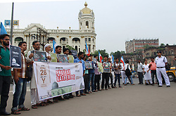 July 28, 2017 - Kolkata, West Bengal, India - Students Islamic Organisation  of India or SIO supporters during a peaceful protest gathering against Israel, who are controlling the Al Aqsa Mosque in Jerusalem in Kolkata, India. (Credit Image: © Sanjay Purkait/Pacific Press via ZUMA Wire)