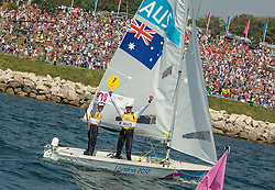 10.08.2012, Bucht von Weymouth, GBR, Olympia 2012, Segeln, im Bild GOLD:.Belcher Mathew, Page Malcolm, (AUS, 470 Men). // during Sailing, at the 2012 Summer Olympics at Bay of Weymouth, United Kingdom on 2012/08/10. EXPA Pictures © 2012, PhotoCredit: EXPA/ Daniel Forster ***** ATTENTION for AUT, CRO, GER, FIN, NOR, NED, .POL, SLO and SWE ONLY!