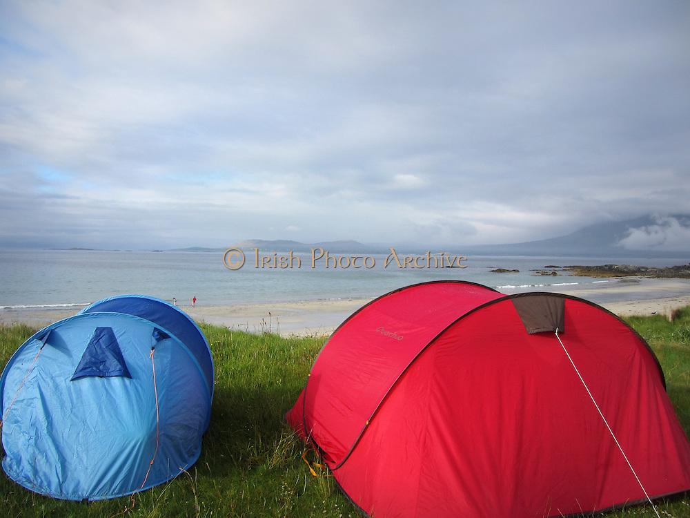 Renvyle camping, Renvyle Beach, Connemara, County Galway, Ireland