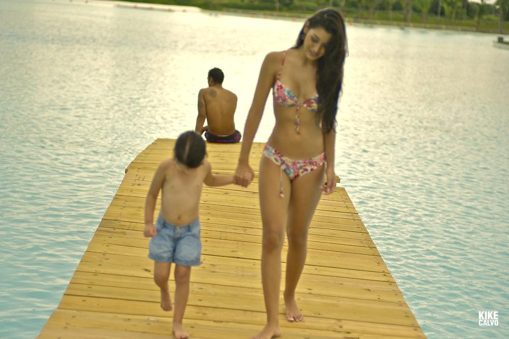 Family day at the pool. Playa Blanca. Panama.