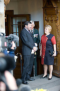 14.04.11. Copenhagen, Denmark.Princess Mary's father Mr. John Donaldson and his woman Mrs. Susan Moody after the christening ceremony on their way to the reception.Photo: Ricardo Ramirez