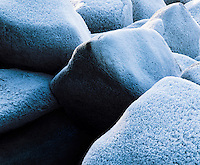 Frost on rocks close-up