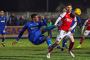 AFC Wimbledon defender Paul Kalambayi (30) with a shot on goal during the EFL Sky Bet League 1 match between AFC Wimbledon and Fleetwood Town at the Cherry Red Records Stadium, Kingston, England on 22 January 2019.